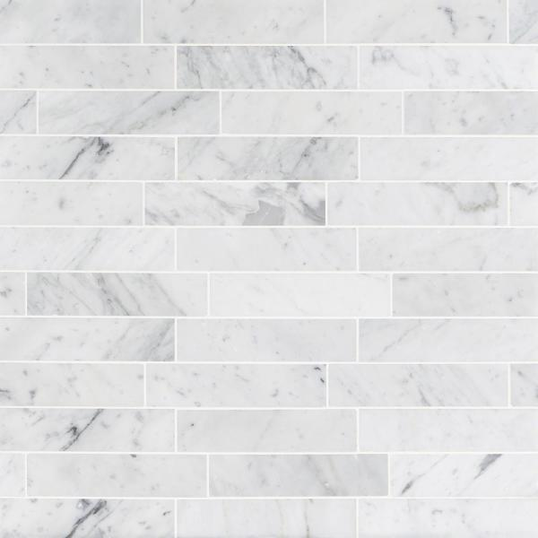 Brushed White Carrera 2 in. x 8 in. x 8 mm Marble Floor and Wall Tile