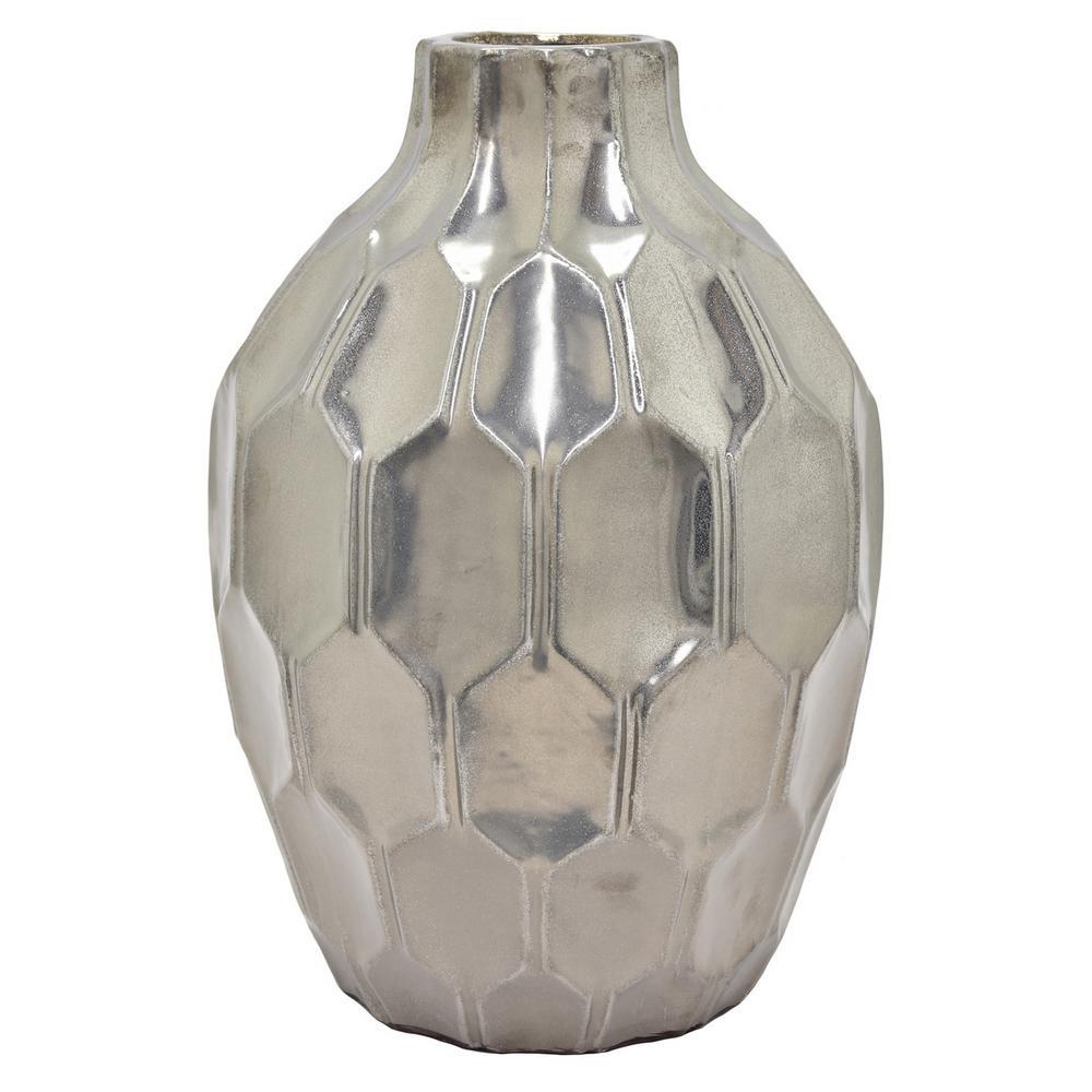 18 in. Silver Ceramic Vase