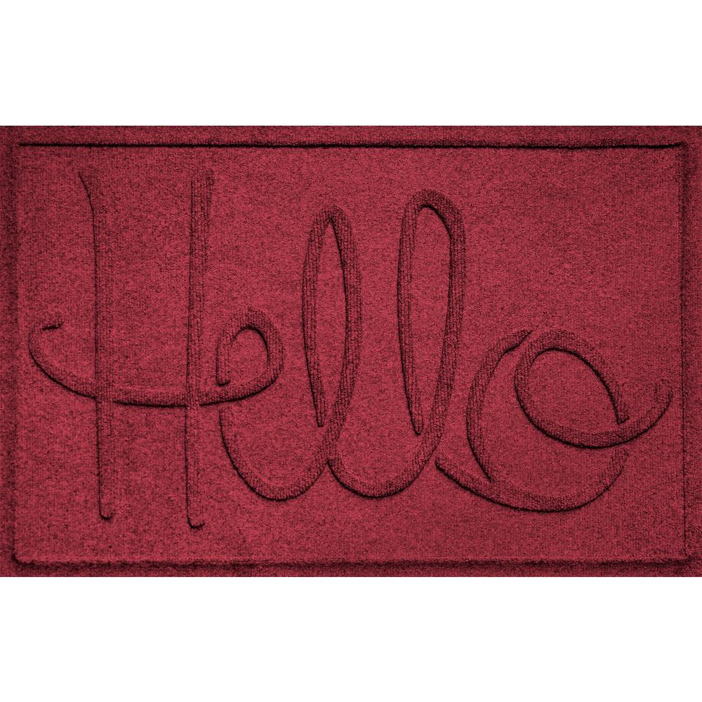 Simple Hello Red Black 24 in. x 36 in. Polypropylene Door Mat