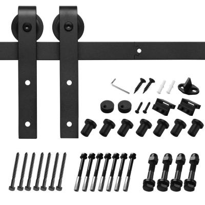 10 ft./120 in. Black Bent Strap Sliding Barn Door Track and Hardware Kit for Single Door with Floor Guide