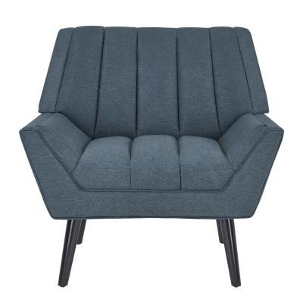 Houston Caribbean Blue Plush Low-Pile Velvet Mid Century Modern Arm Chair