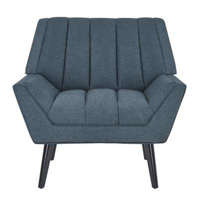 Rochelle Caribbean Blue Plush Low-Pile Velvet Mid Century Modern Arm Chair