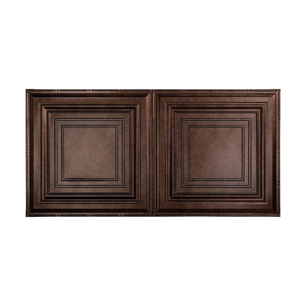 Fasade Traditional 3 - 2 ft. x 4 ft. Glue-up Ceiling Tile in Smoked Pewter