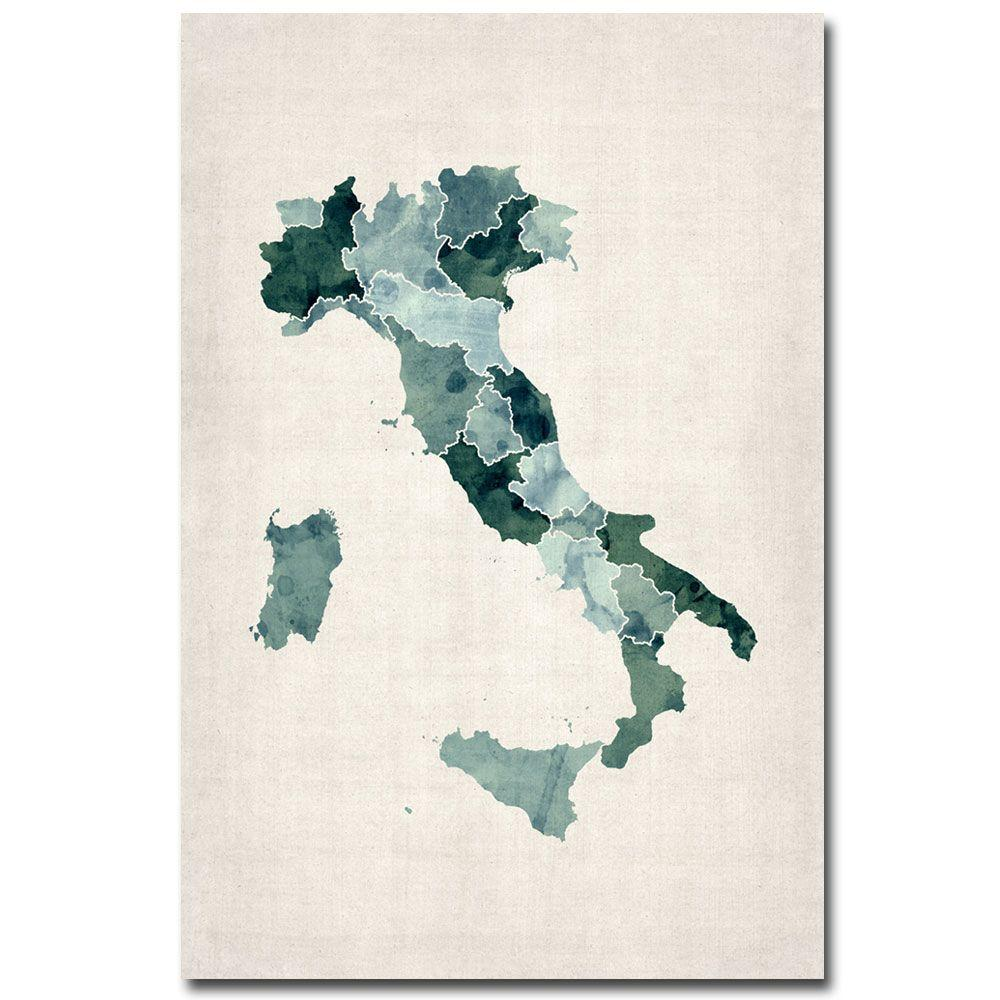 16 in. x 24 in. Italy Watercolor Map Canvas Art