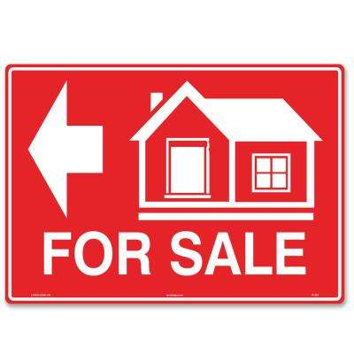 14 in. x 10 in. House For Sale Sign (Left Arrow) Printed on More Durable Longer-Lasting Thicker Styrene Plastic.