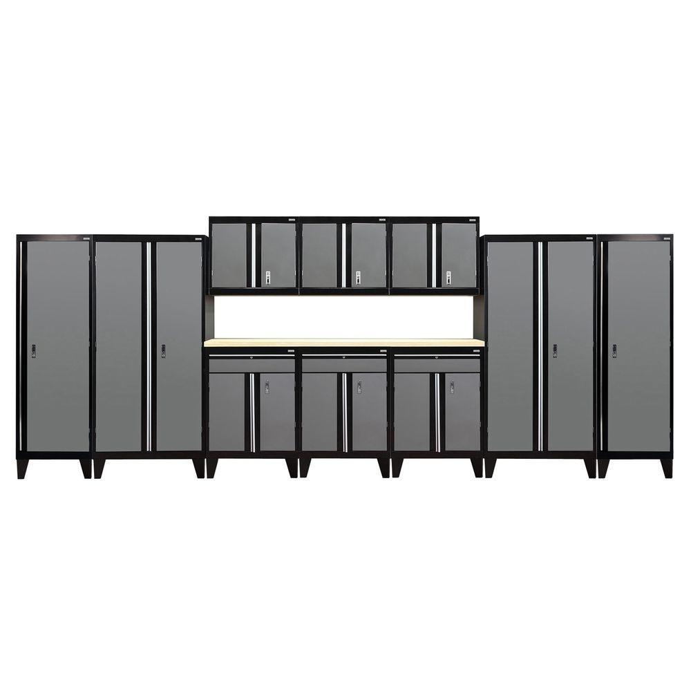 79 in. H x 228 in. W x 18 in. D Modular Garage Welded Steel Cabinet Set in Black/Charcoal (11-Piece)