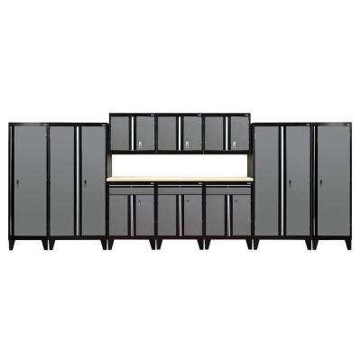 79 in. H x 228 in. W x 18 in. D Modular Garage Welded Steel Storage System in Black/Charcoal (11-Piece)