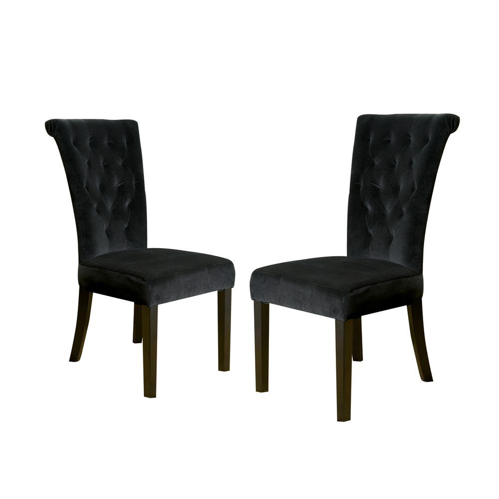 Venetian Black Velvet Tufted Dining Chairs (Set of 2)