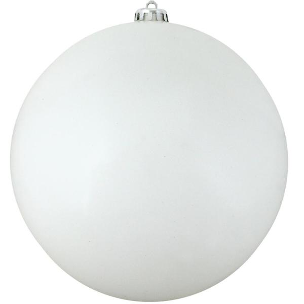 12 in. (300 mm) Shiny Winter White Commercial Shatterproof Christmas Ball Ornament