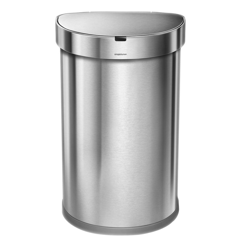 45-Liter Nano-Silver Clear Coat Brushed Stainless Steel Semi-Round Sensor Trash
