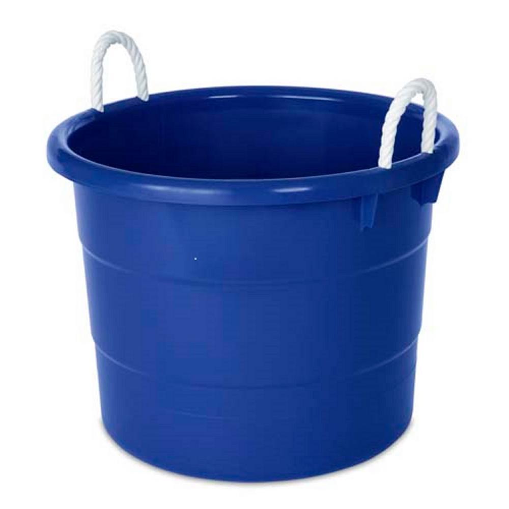 18 gal. Rope Handle Tub Storage Tote in Blue (2-Pack)