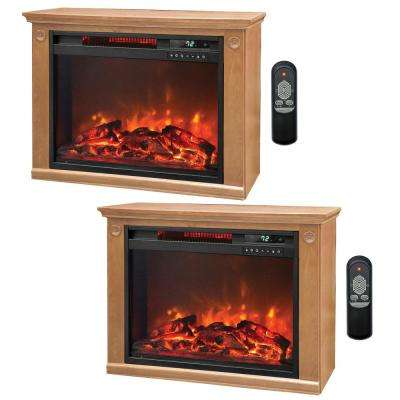 3 Element Quartz Electric Infrared Portable Fireplace Heaters (Pair)