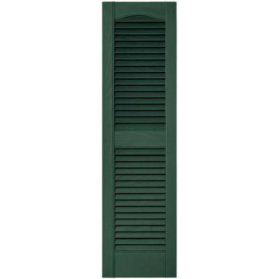 12 in. x 43 in. Louvered Vinyl Exterior Shutters Pair in #028 Forest Green