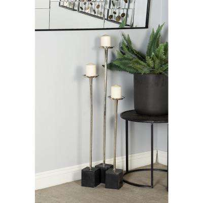 Silver Aluminum Candle Holders with Cuboid Marble Base (Set of 3)