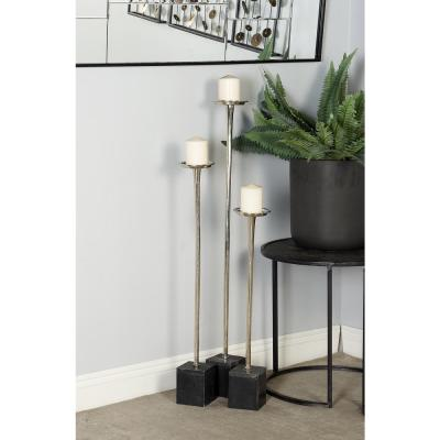 Litton Lane Silver Aluminum Candle Holders with Cuboid Marble Base (Set of 3)