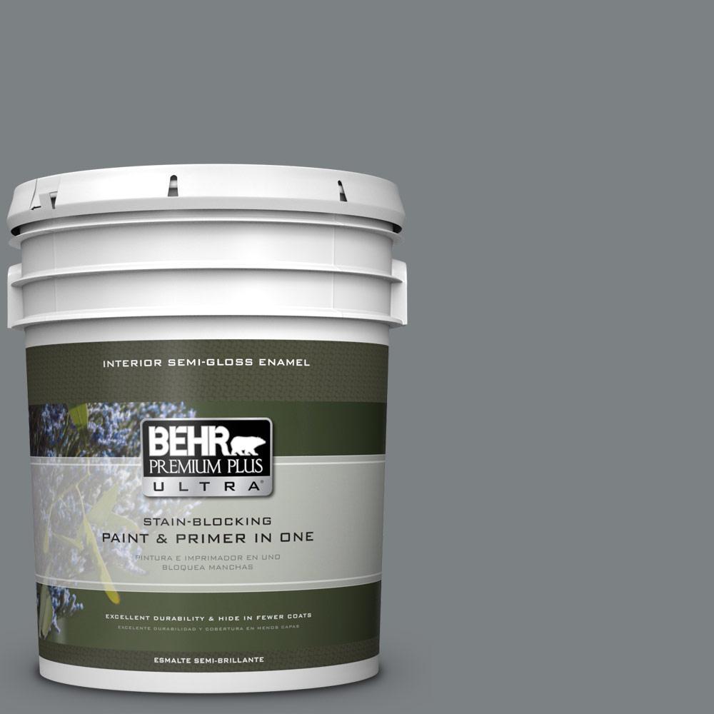 5 gal. #PPU26-03 Legendary Gray Semi-Gloss Enamel Interior Paint