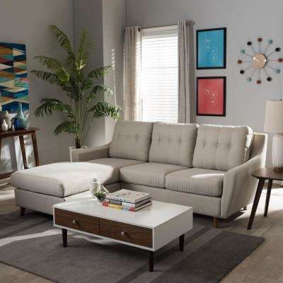 Mckenzie 2-Piece Contemporary Beige Fabric Upholstered Left Facing Chase Sectional Sofa
