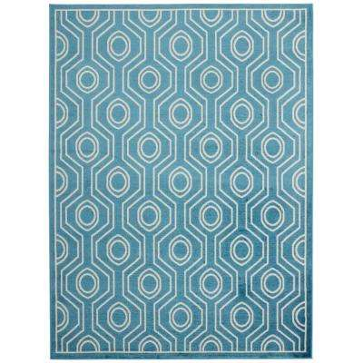 Jasmin Collection Blue and Ivory 7 ft. 10 in. x 9 ft. 10 in. Moroccan Trellis Area Rug