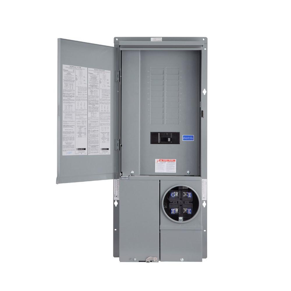 Homeline 125 Amp 20-Space 40-Circuit Outdoor Ring-Type Semi-Flush Mount Solar-Ready Main Breaker Plug-On Neutral CSED