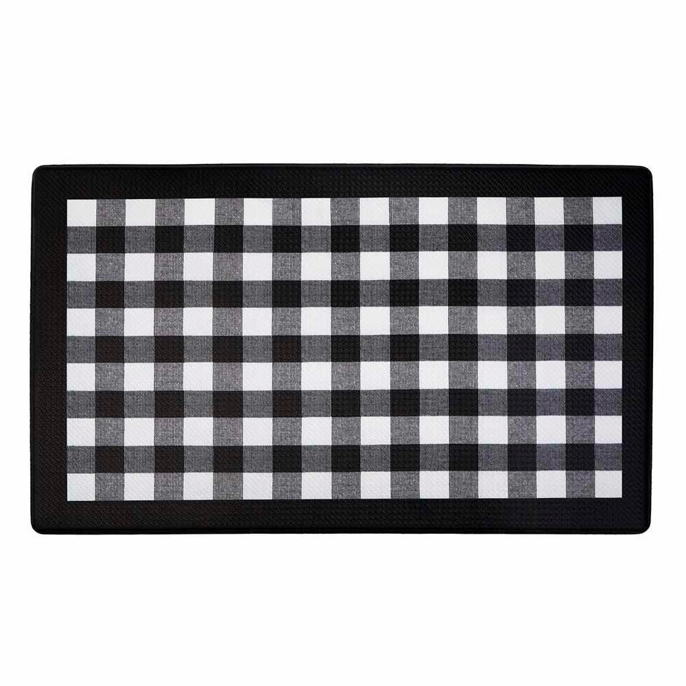 Achim Buffalo Check Black 18 in. x 30 in. Anti-Fatigue Mat