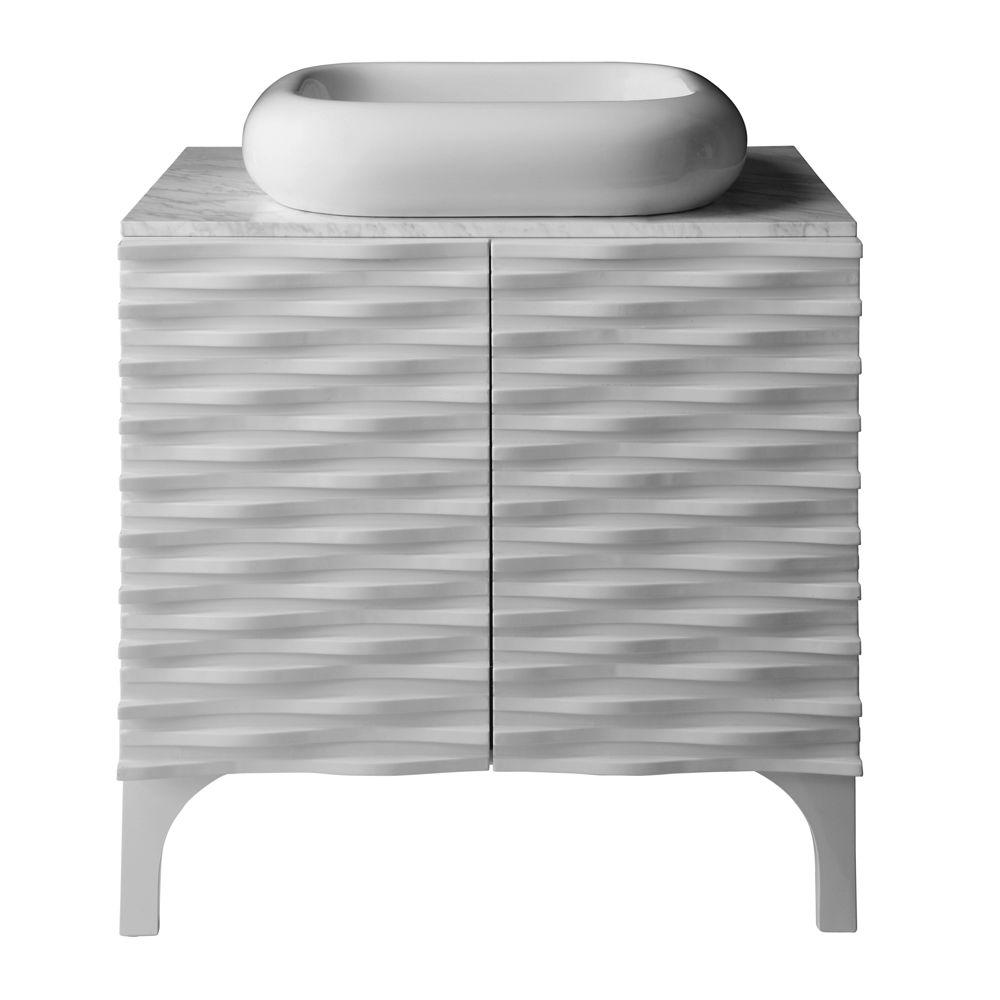 DECOLAV Sophia 30 in. Birch Vanity in Glossy White with Bianco Marble Vanity Top with Basin in White