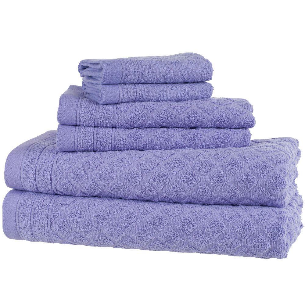 6 Piece Bath Towel Set in Purple