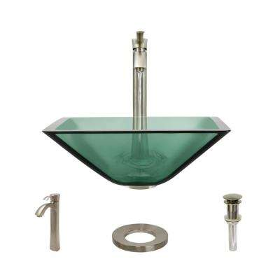 Glass Vessel Sink in Ivy with R9-7006 Faucet and Pop-Up Drain in Brushed Nickel