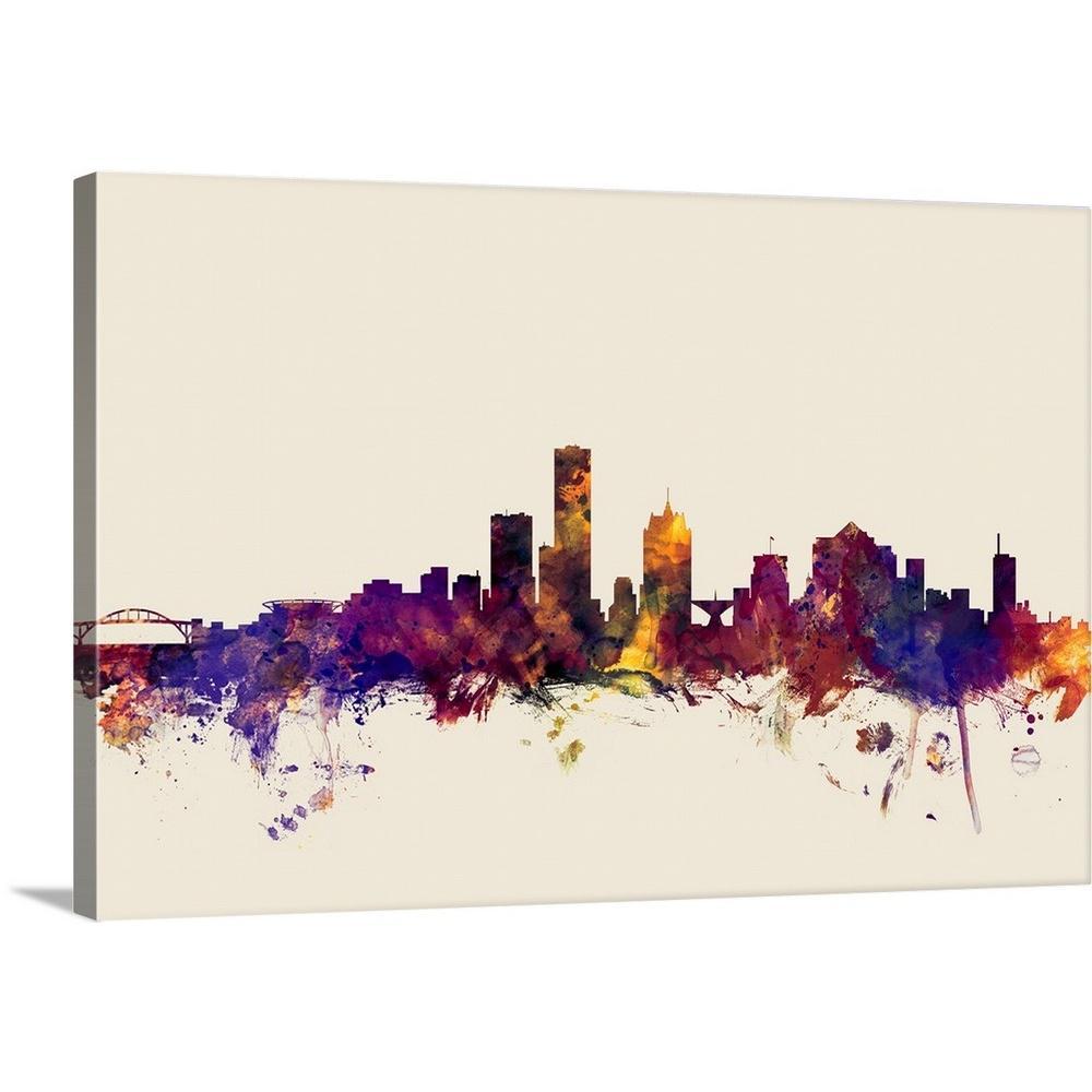 30 in. x 20 in. ''Milwaukee Wisconsin Skyline'' by  Michael Tompsett Canvas Wall Art