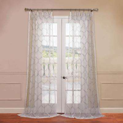 Florentina Embroidered Sheer Curtain in Silver - 50 in. W x 84 in. L