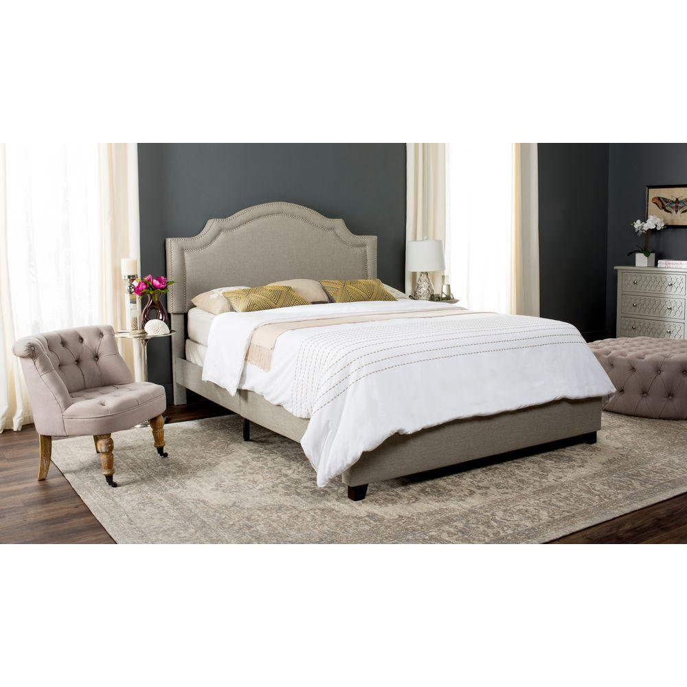 double grey small upholstered addison bed frame