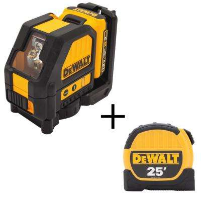 12-Volt MAX Lithium-Ion 165 ft. Green Self-Leveling Cross-Line Laser Level with Bonus 25 ft. Tape Measure