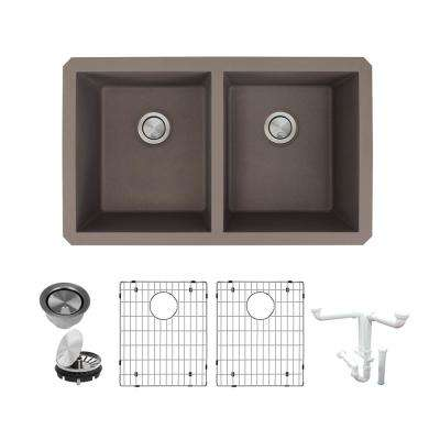 Radius All-in-One Undermount Granite 32 in. Equal Double Bowl Kitchen Sink in Espresso