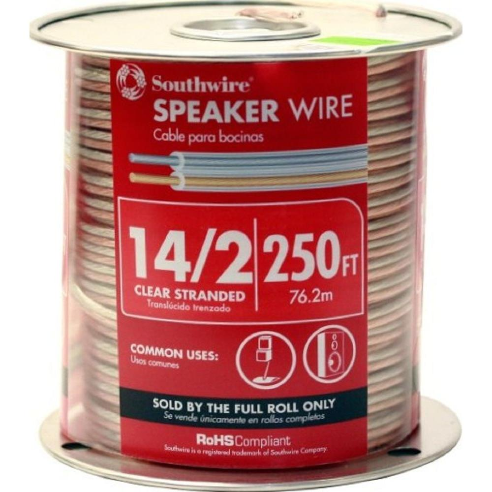 Southwire (By-the-Foot) 14/2 Clear Stranded CU CL3 Speaker Wire ...