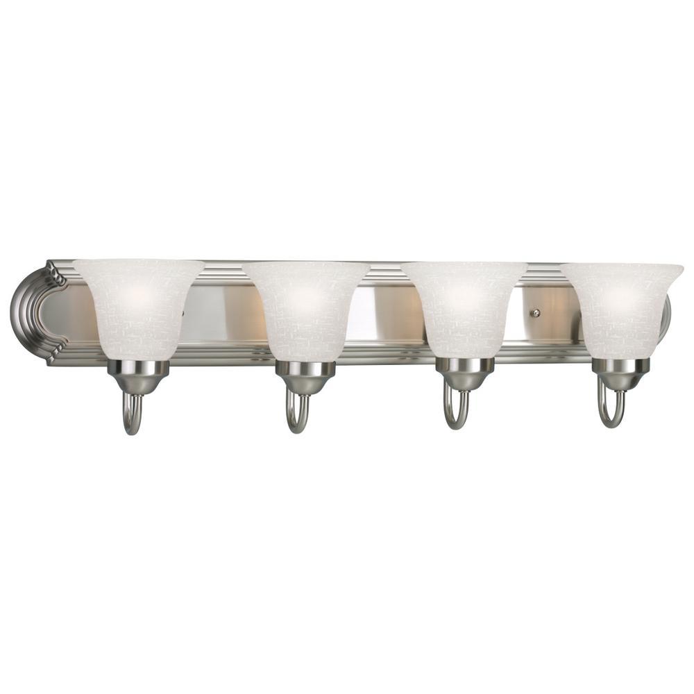 Progress Lighting 30 in. 4-Light Brushed Nickel Bathroom Vanity Light with Glass Shades