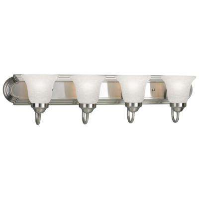 30 in. 4-Light Brushed Nickel Bathroom Vanity Light with Glass Shades