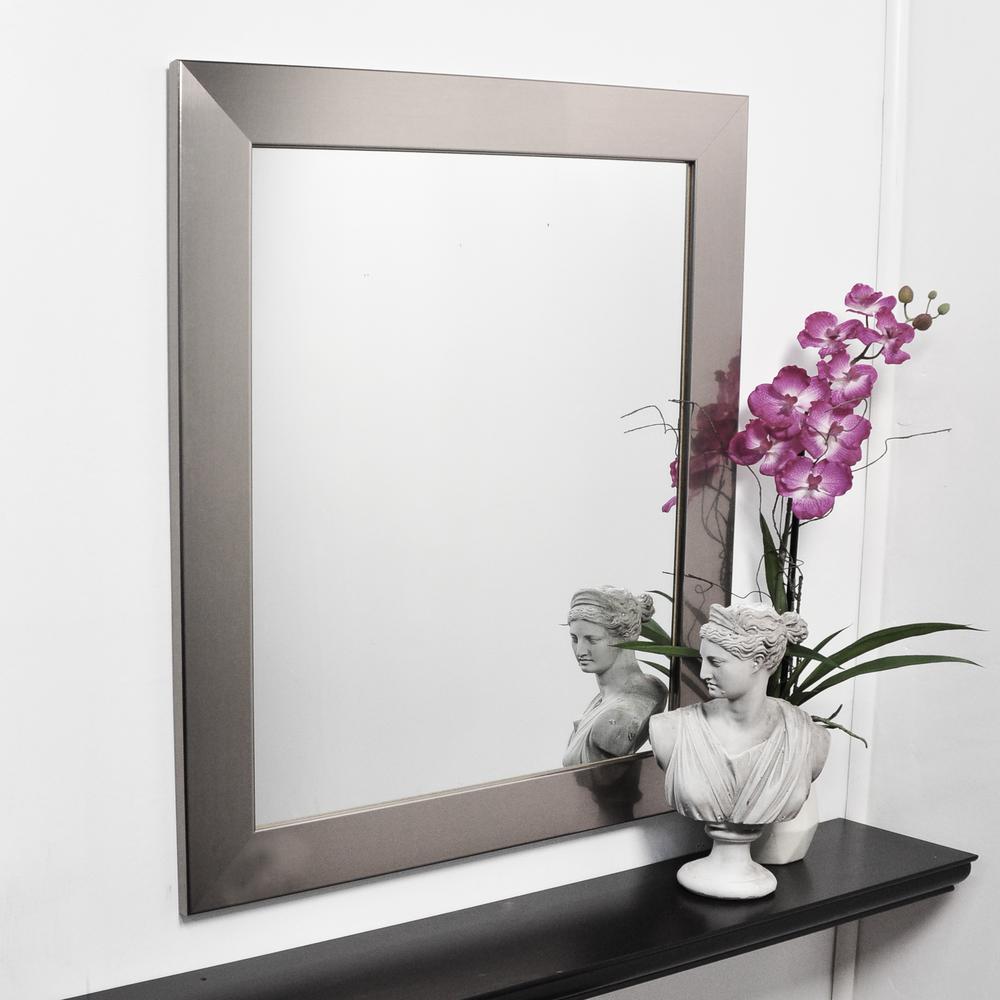 Medium Rectangle Silver Hooks Modern Mirror (32 in. H x 27 in. W)