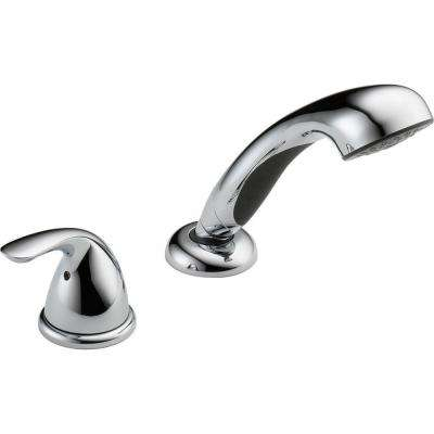 Classic Single-Handle Deck-Mount Roman Tub Faucet with Handheld Showerhead in Chrome