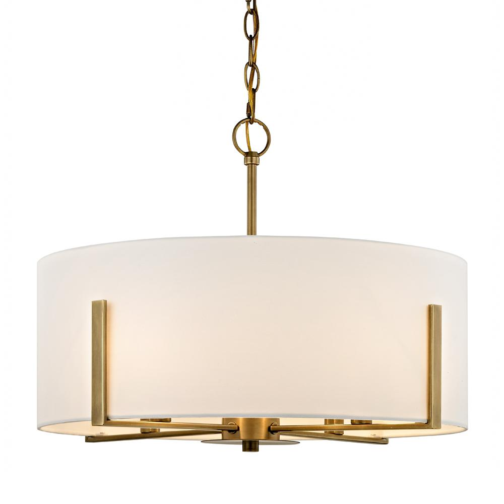 Fifth And Main Lighting Manhattan 4 Light Aged Br Pendant With Cream Colored Drum Shade