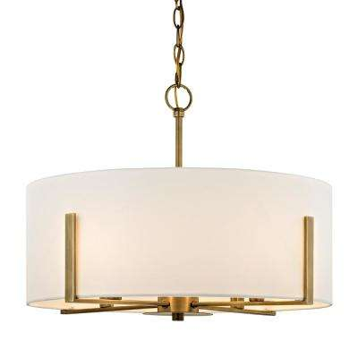 Manhattan 4-Light Aged Brass Pendant with Cream Colored Drum Shade