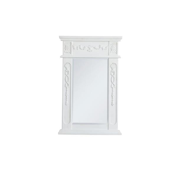 Medium Rectangle Antique White Contemporary Mirror (28 in. H x 18 in. W)