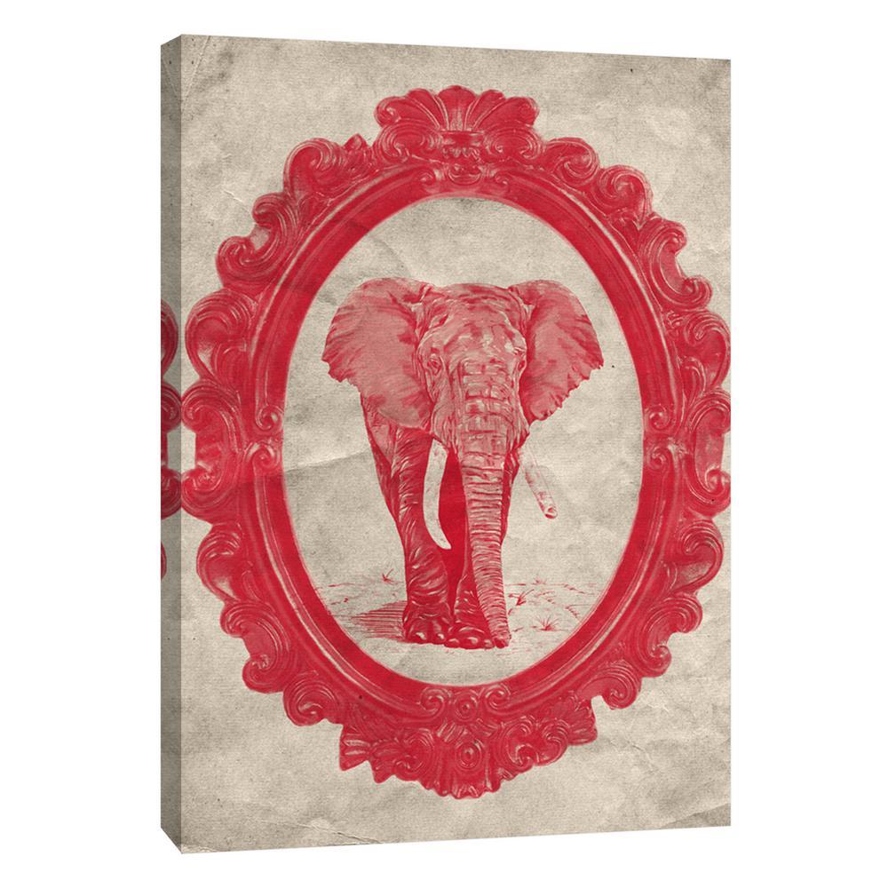 PTM Images 12 in. x 10 in. ''Framed Elephant in Crimson''