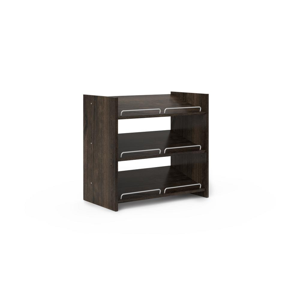 ClosetEvolution Closet Evolution 25.125 in. W x 14 in. D x 25 in. H Espresso Stackable Shoe Storage, Brown