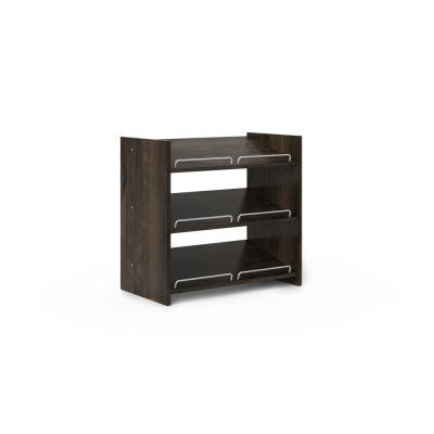 25 in. H x 25.125 in. W x 14 in. D 9-Pair Espresso Wood Stackable Shoe Storage