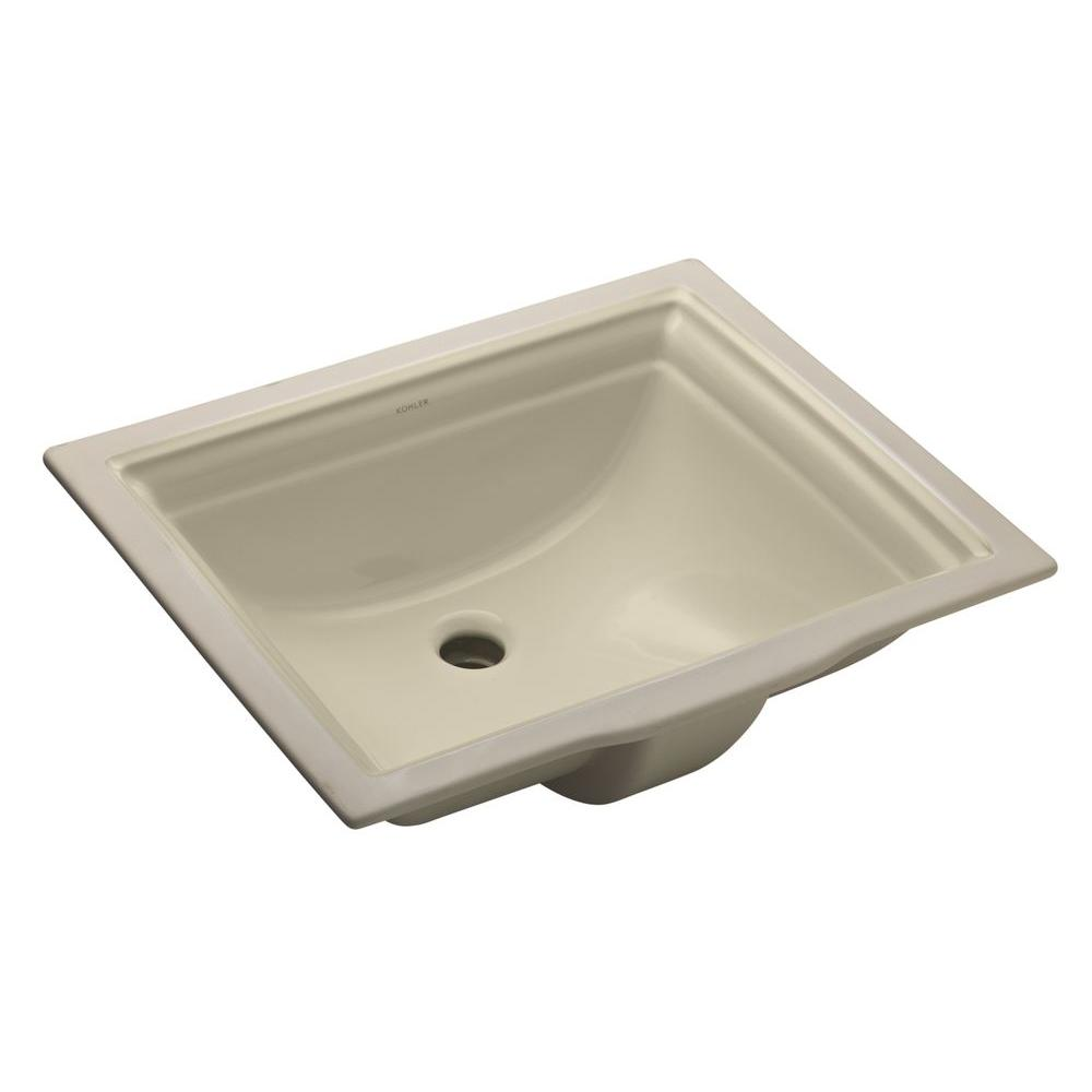 Kohler Memoirs Undermount Bathroom Sink In Almonds With Overflow Drain