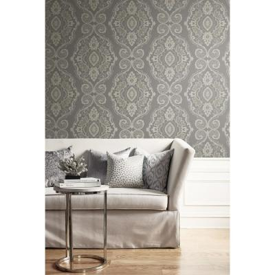 Nautical Black Sands Damask Wallpaper