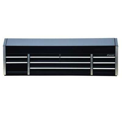 72 in. 8-Drawer Metal Top Chest in Black