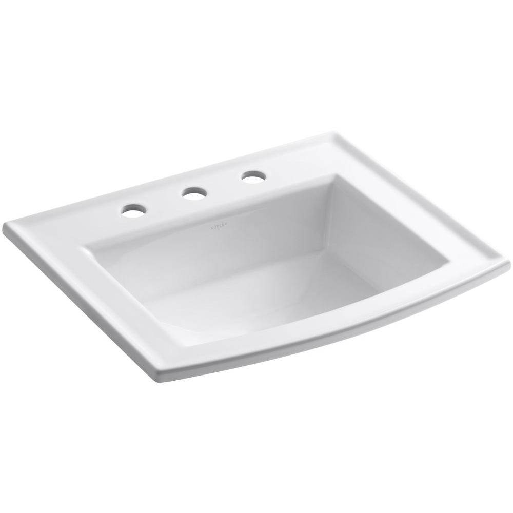 Kohler Archer Drop In Vitreous China Bathroom Sink White With Overflow Drain