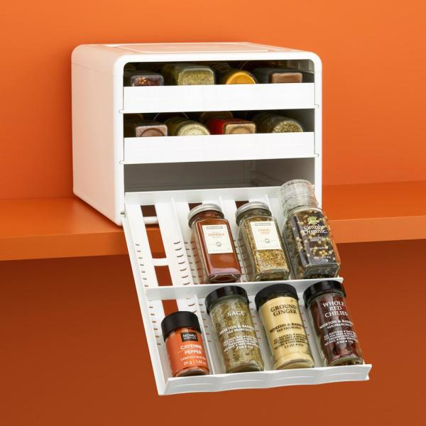 SpiceStack Adjustable 24-Bottle White Spice Organizer