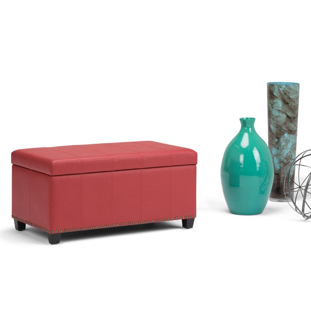 Simpli Home Amelia Storage Ottoman Bench in Crimson Red Faux Leather