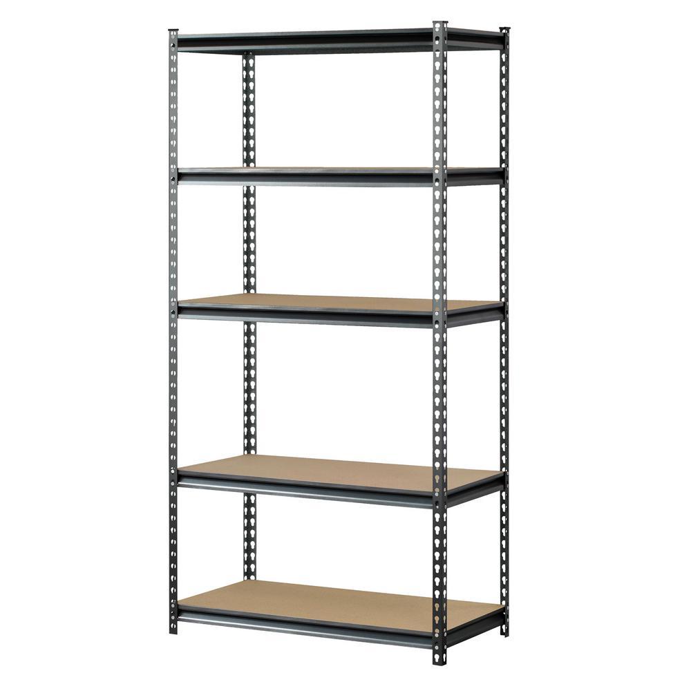 Muscle Rack 72 in. H x 36 in. W x 18 in. D 5 Shelf Z-Beam Boltless Steel Shelving Unit in SilverVein